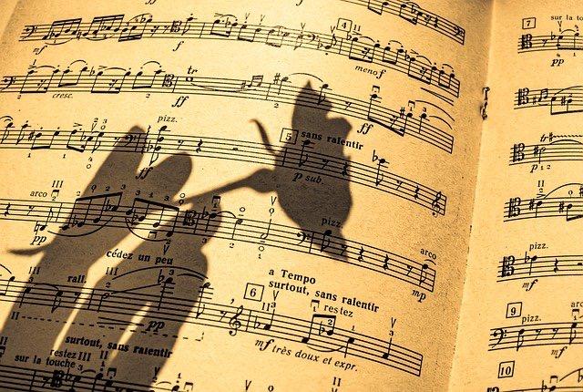 Aufgeschlagenes Notenbuch mit Schattenhand und Schattenblume