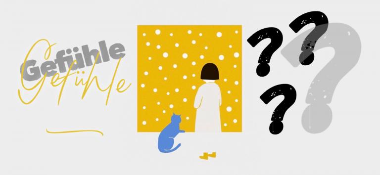 Kind, gezeichnet, steht vor gelber Wand mit weißen Punkten und grübelt über Gefühle, die es nicht versteht