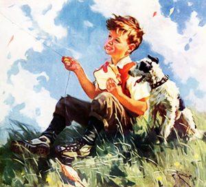 Gemalter Lausbub mit seinem Hund auf einer Wiese vor strahlendem Himmel, nostalgisch