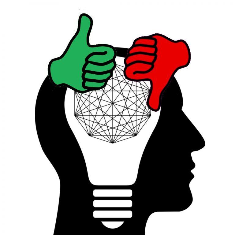 Innerer Widerstand, stilisierter Kopf mit Glühbirne und grünem Daumen hoch und rotem Daumen runter