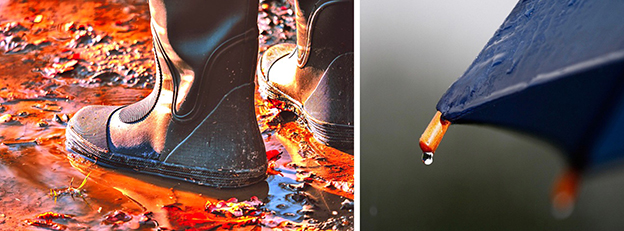Doppelbild, links Gummistiefel in einer herbstlichen Pfütze stehend, rechts eine Ecke eines Regenschirms mit Tropfen