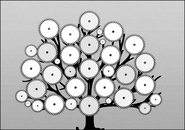 Viele Rädchen greifen ineinander und ergeben einen blühenden Baum