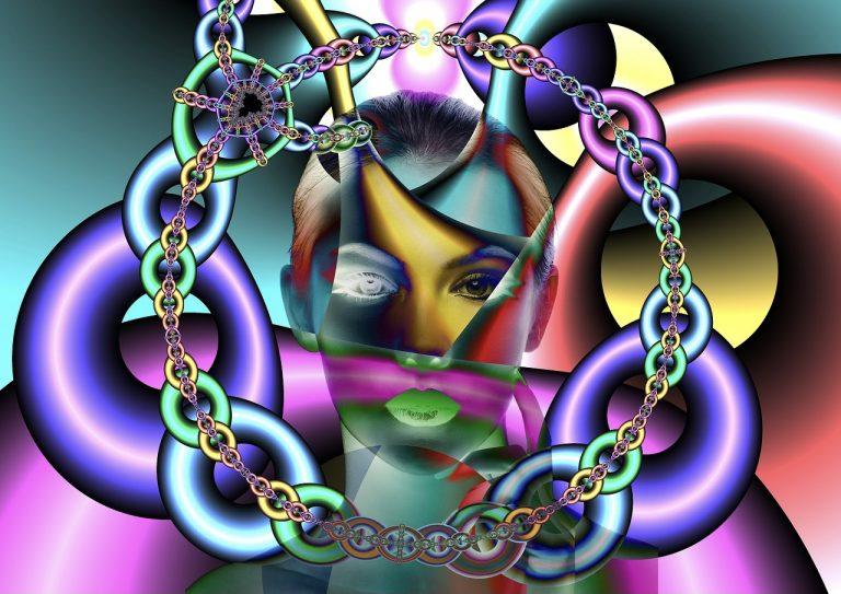 Geist, bzw. die Psyche liegt in Ketten. Fantasiebild, gemalt. Der Mensch, so scheint es, ist gefangener seiner Psyche.